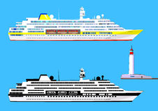 Cruise ships and lighthouse, isolated on blue, vector. Cruise ships, colored and black-and-white, lighthouse, isolated on blue, vector illustration Stock Image