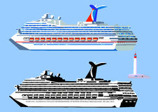 Cruise ships and lighthouse. Cruise ship, high detail, black-and-white and color.  on blue, vector illustration Stock Images