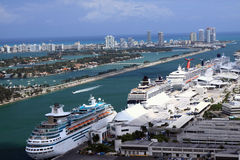 Cruise ships at Miami port royalty free stock photography