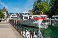 Cruise ships are moored at the pier in Annecy, France Royalty Free Stock Photos