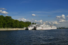 Cruise ships in the Moscow river Stock Photo