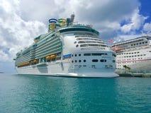Cruise ships in Nassau, Bahamas. Mariner of the Seas and Carnival Elation cruise ships docked at Nassau, Bahamas royalty free stock photos