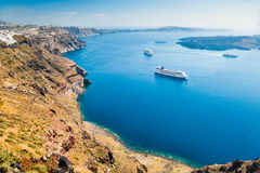 Cruise ships near the Greek Islands Royalty Free Stock Photography