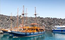 Cruise ships near Nea Kameni Stock Image