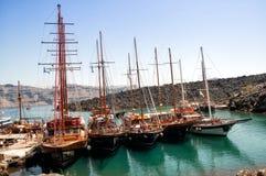 Cruise ships near Nea Kameni, located in the Santorini caldera Royalty Free Stock Photo