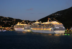 Cruise ships at night. In St Thomas, US Virgin Islands Stock Photos
