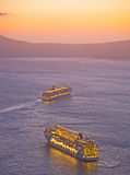 Cruise ships off the island of Santorini. Royalty Free Stock Photo