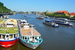 Cruise ships parking in Prague Stock Photography