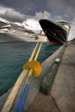 Cruise ships in port. 2 cruise ships in port with beautiful colours Royalty Free Stock Photo
