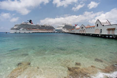 Cruise ships in the port of Cozumel. Puerta Maya, Mexico Stock Photos