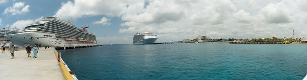 Cruise ships in the port of Cozumel. Puerta Maya, Mexico Stock Images