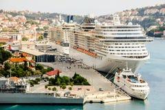 Cruise ships port Dubrovnik. Large cruise ships in harbour Dubrovnik, Lapad peninsula, Dalmatia, Croatia stock image