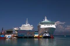 Cruise Ships at the Port of Kusadasi Stock Images