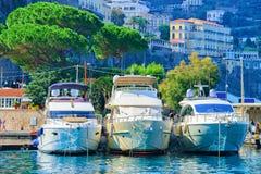 Cruise ships at Port of Marina Grande in Sorrento. Tyrrhenian sea, Amalfi coast, Italy Royalty Free Stock Photos