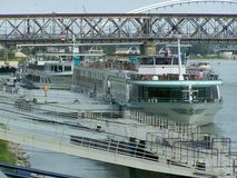 Cruise Ships on the River Danube Royalty Free Stock Photography