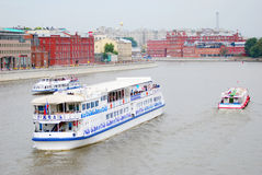 Cruise ships sail on the Moscow river Royalty Free Stock Photos