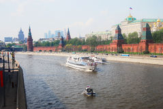 Cruise ships sail on the Moscow river. Royalty Free Stock Photography