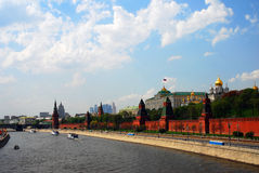 Cruise ships sail on the Moscow river. Moscow Kremlin panorama. UNESCO World Heritage Site. Taken on May 01, 2014 Stock Photography