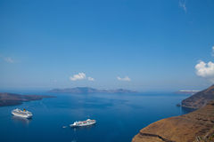 Cruise ships in Santorini, Greece Royalty Free Stock Photos