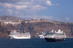 Cruise Ships, Santorini Isand Royalty Free Stock Photos