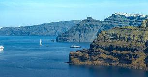 Cruise Ships in Santorini Stock Images