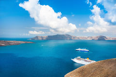 Cruise ships at the sea near the Greek Islands Royalty Free Stock Photos