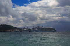 Cruise ships in St Maarten. Royalty Free Stock Photo