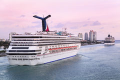 Cruise ships at sunset, Miami Beach Harbor Stock Images