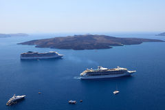 Cruise ships in Thira, Santorini island, Greece Stock Images