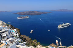 Cruise ships in Thira, Santorini island, Greece Royalty Free Stock Photo