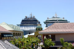 Cruise Ships. Two cruise ships docked in port in St. Kitts, West Indies Stock Photo