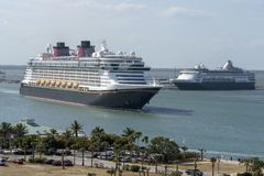 Cruise ships underway. Port Canaveral, Florida, USA. Port Canaveral, Florida, USA. circa 2017. Cruise ship Disney Fantasy departing Port Canaveral stock photos