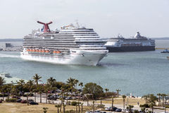 Cruise ships underway Port Canaveral USA Stock Image