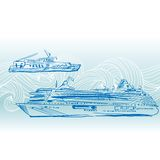 Cruise ships vector background. Engraving Nautical Royalty Free Stock Image