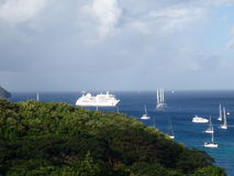 Cruise ships and yachts at anchor Royalty Free Stock Images