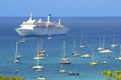 Cruise ship in St Barths, Caribbean Stock Images