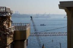 Passenger boat crossing from the Bosphorus