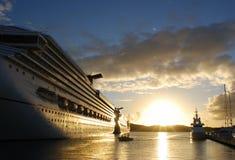 Cruise Sunset. Cruise liners filled with warm sunset light on St.Thomas island, U.S. Virgin Islands Stock Photo