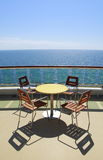 Cruise table and chairs Royalty Free Stock Photos