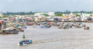 Cruise Terminal in Cai Rang floating market Stock Image