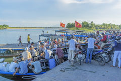 Cruise terminal serving the people go Cam Kim. At the Thu Bon River, Hoi An old town, Vietnam. Hoi An is a famous tourist destination in the world and Vietnam royalty free stock photo