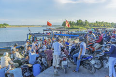 Cruise terminal serving the people go Cam Kim. At the Thu Bon River, Hoi An old town, Vietnam. Hoi An is a famous tourist destination in the world and Vietnam stock photography