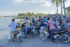 Cruise terminal serving the people go Cam Kim. At the Thu Bon River, Hoi An old town, Vietnam. Hoi An is a famous tourist destination in the world and Vietnam royalty free stock image
