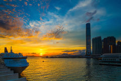 Cruise Terminal at Sunset Royalty Free Stock Images