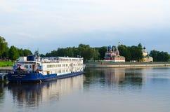 Cruise three-deck motor ship Princess Anabella on river dock, Uglich, Russia Stock Image
