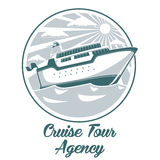 Cruise tour agency logo design with liner ship Stock Images