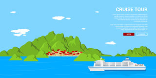Cruise tour banner Royalty Free Stock Image