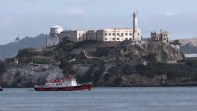 Cruise tour boat to Alcatraz Island in San Francisco Bay stock footage