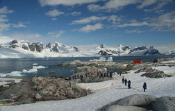 Cruise  tourists. Moving down to landing station, amid icebergs & glaciersPetermann Island,Antarctica Stock Image