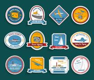 Cruise travel agency stickers set Stock Images